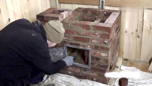 老外给工作室修建取暖炉,有手艺又有时间,啥事都能自己干