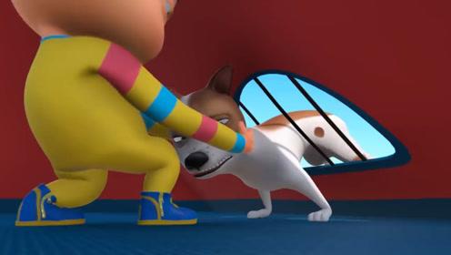 小狗想要偷小孩的食物,结果卡在帐篷里,被救下还不忘带走食物!