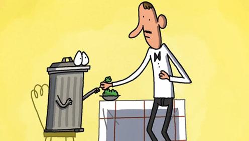 垃圾桶肚子饿去餐厅吃饭,服务员好吃主动喂食,结果因误会丢了工作