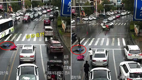 女子斑马线上被撞 多车绕行不理直至她出现
