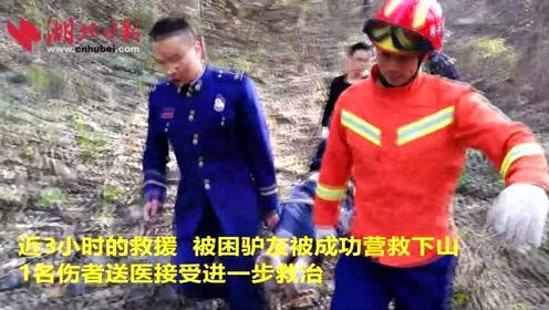 驴友结伴登山探险不慎跌落山崖 黄石消防员跋涉3小时救下