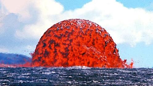 岩浆碰上海水会怎么样?接触瞬间画面太震撼,镜头记录全程!