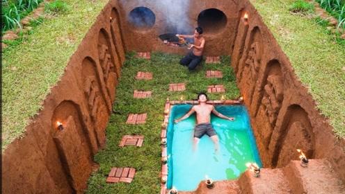 地下建造游泳池,荒野也能体验好生活,不用为钱发愁!