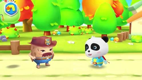 小熊猫遇见大坏蛋,变身超人直接勇敢闯关,救出字母大叔太厉害!