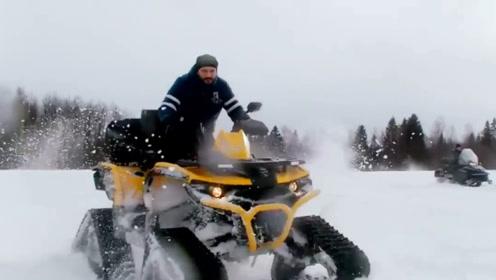 自己也能做雪地车?国外小哥用轮胎造出雪地车,实用又霸气