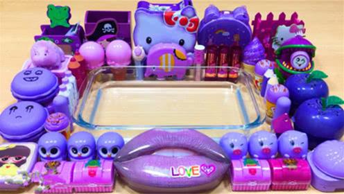 DIY史莱姆教程,紫色凯蒂猫水晶泥+猫头鹰彩泥+冰淇淋雪花泥