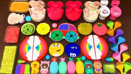 创意史莱姆教程,彩虹黏土+菠萝果冻泥+金沙粉+星空史莱姆,效果超棒