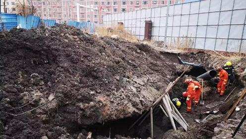 突发!吉林白城一管道施工工地发生坍塌 ,有一名工人被埋