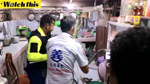 4.5米眼镜蛇王藏身橱柜吓坏主妇 捕获过程险象环生