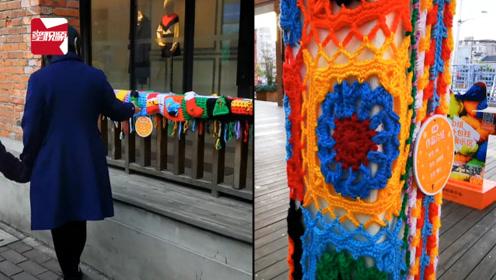 """上海街头树木长凳穿上五颜六色的""""毛衣"""":一针一线暖人心"""