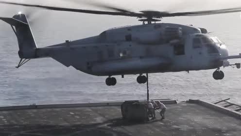直升机中起重机!超级种马直升机的起重操作!