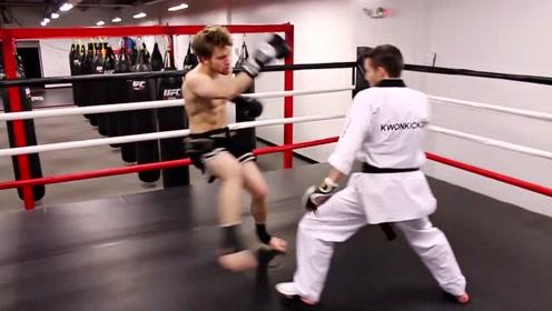 世界上最厉害的格斗术,拳击对抗跆拳道,一脚定输赢