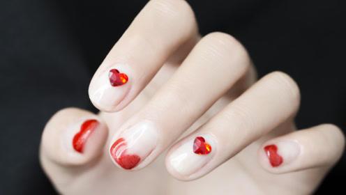 情人节爱心美甲,我的指尖奏是甜蜜