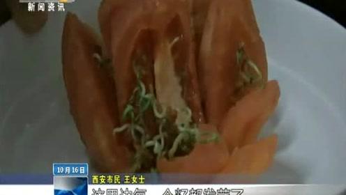 """奇!西红柿切开竟长满""""豆芽""""专家:储存时间过长含有毒物质不宜食用"""