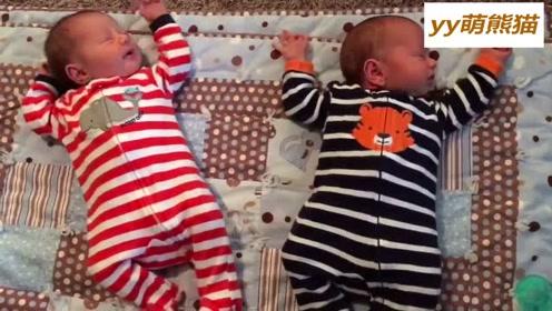 双胞胎小萌宝宝,连打喷嚏都神同步一起打,小哥俩怎么能这么可爱呢