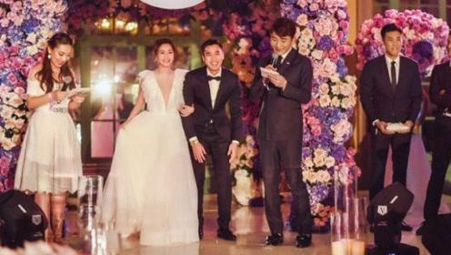 阿娇与赖弘国挽手深V婚纱造型曝光,婚宴门口三名安保守护