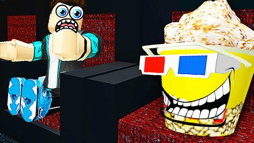 屌德斯&小熙 Roblox躲猫猫模拟器 在电影院变身豪华午餐兄妹!