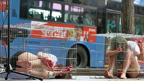 韩国少女将自己关在街头笼中,浑身画满伤口,这是要做什么?
