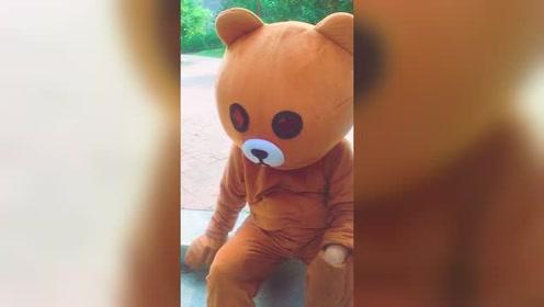 路边遇到一只蠢熊,想做好事却弄巧成拙,最后的造型我要笑喷了