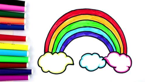适合宝宝学习的简笔画涂色游戏,美丽的彩虹!