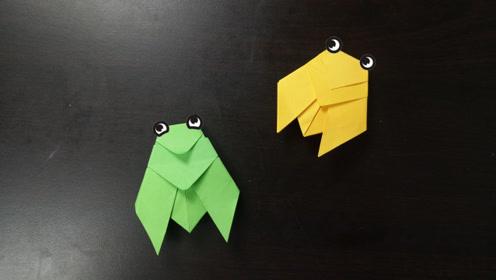 儿童手工折纸:夏天吱哇叫的知了折法,夏天火热的感觉