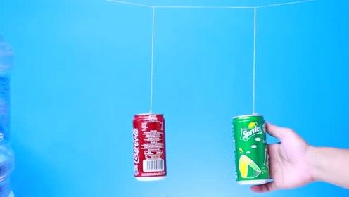挂在一根绳子上的两个易拉罐,一个晃动另一个就停止!这是为什么?