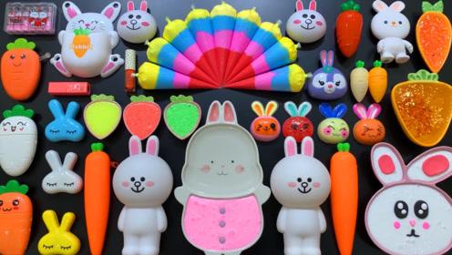 裱花袋彩虹黏土 超萌小兔泥 蔬菜水果泥 米粒泥,效果超棒的史莱姆