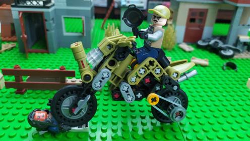 吃鸡拼装玩具颗粒,帅气的v玩具摩托车游戏小积木积木按斤划算图片
