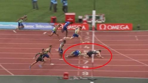 神助攻!男子110米栏意外绊倒对手 竟助其夺冠