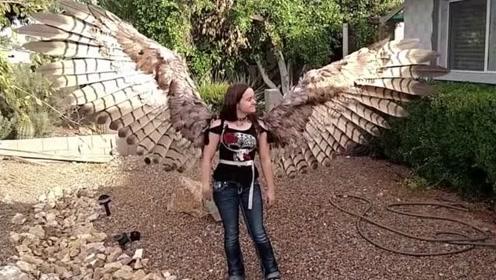 外国美女自制翅膀,内部机关复杂,与鸟类翅膀几乎无区别