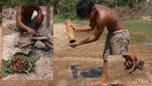 荒野求生:农村小哥用原始方法烤小螃蟹吃,这做法太有创意了