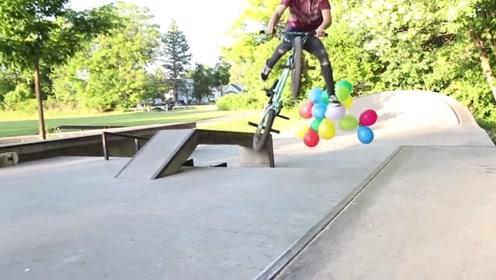 老外用氦气充自行车轮胎,做特技动作更轻松?看的我也想试试!