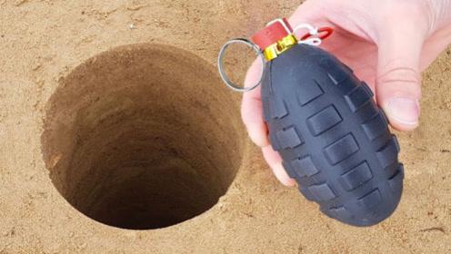"""老外作死将""""手榴弹""""扔进深坑中,3秒后失控,差点把我吓尿了!"""