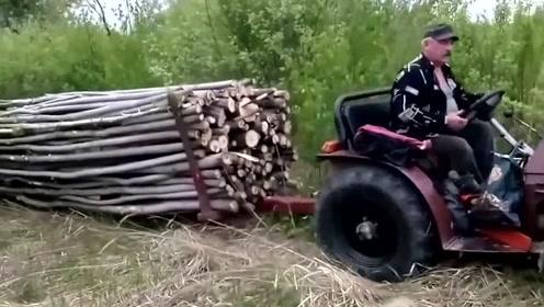 我见过最厉害的拖拉机改造,载货能力太牛了!