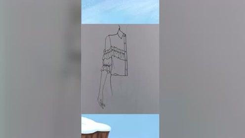 服服装设计图裙子 服装设计图片稿 褶皱袖子的画法