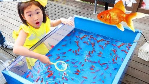 家里惊现一片湖泊,小萝莉和爸爸灵机一动,联手钓了好多鱼!