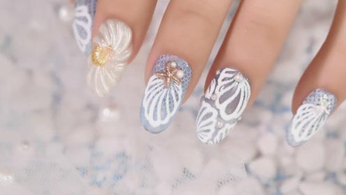 糖衣贝壳半透蓝美甲 指尖弹出的海洋你喜欢吗