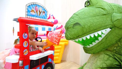 恐龙先生去萌娃的店里买冰淇淋,萌娃:你可真能吃呀!
