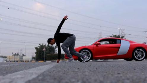 人能跑过汽车吗?科威特运动员挑战奥迪R8,最尴尬的往返赛!
