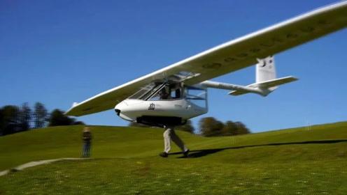 外国发明人助力飞行器,时速可达100千米每小时,落地靠脚刹?