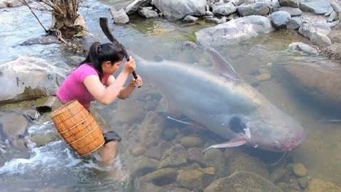 牛人在河边发现一条大鱼,接下来的画面,真是让人目瞪口呆