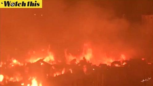 孟加拉国平民窟大火 熊熊大火照亮夜空5万人无家可归