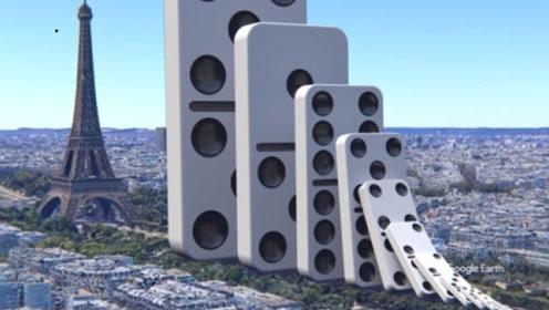 特效模拟世界最大骨牌!竟跟铁塔一样高,倒下瞬间大地都在震颤!