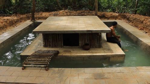荒野生活,牛人在野外建造房屋和游泳池,难道这是要常住吗?