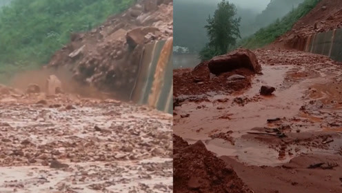 直击四川乐山山体滑坡瞬间!泥流落石倾泻而下 塌方致道路中断