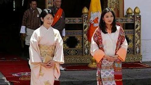 不丹王后和日本皇太子同框!32岁王后太惊艳,两家小王子比萌