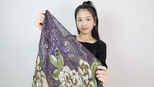 小姐姐用1条花丝巾遮赘肉 不减肥照样优雅
