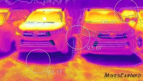 夏天里,黑色车比白色车更热吗?停车场用红外线测温仪试试就清楚