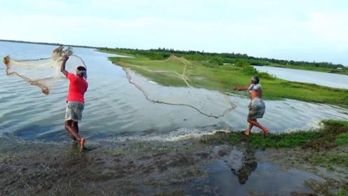 野外湿地鱼好多啊,印度俩大叔撒一网下去,不得了啊
