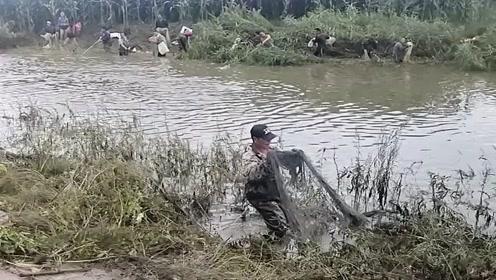 农村小河发洪水了,河沟里全是来捕鱼的村民,真热闹啊!